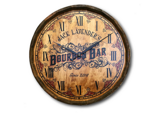 Personalized Bourbon Bar Quarter Barrel Clock by THOUSAND OAKS BARREL CO.