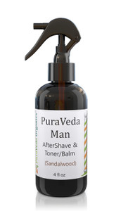 PURAVEDA AFTERSHAVE BALM & TONER - Organic Red Bump and Irritation Prevention w/Pure Sandalwood Essence