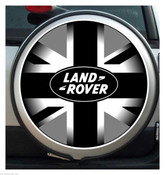 BLACK GREY UNION JACK land rover SPARE COVER STICKER
