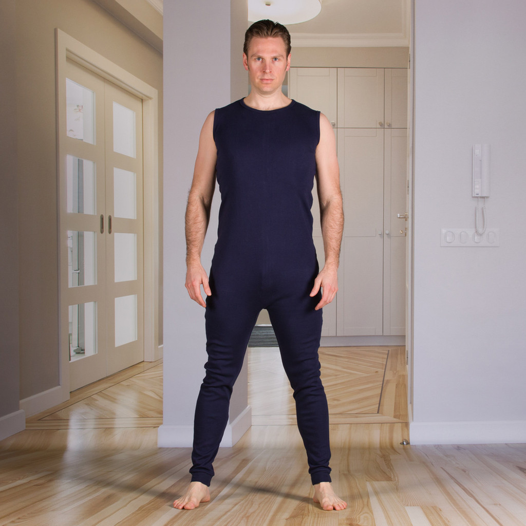 Unisex Bodysuit with Zippered-Back and Long Legs