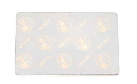104523-119 Zebra white PVC, 30 mil cards, 2D world globe surface foil hologram 500 cards