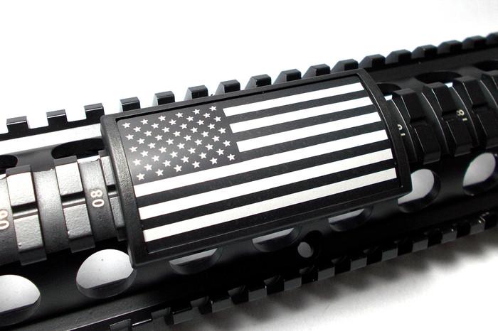 US FLAG LASER ENGRAVED ALUMINUM- STARS LEFT