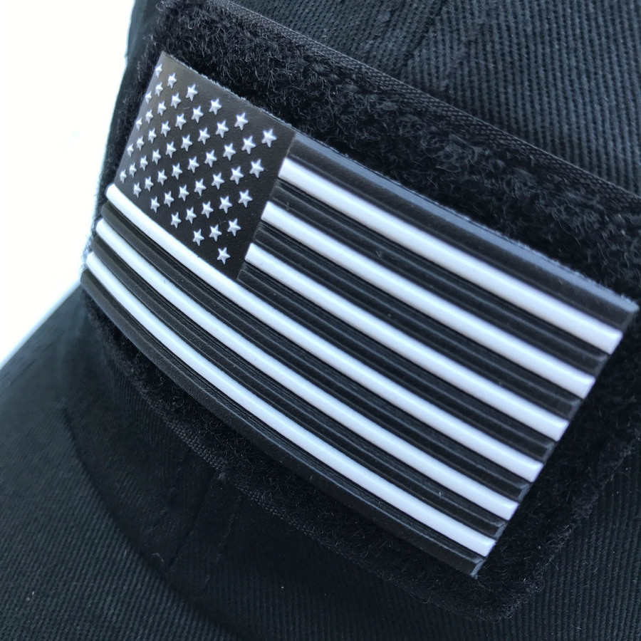 Black and White US Flag Patch - Stars Left
