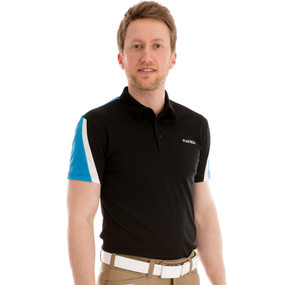 Funktion Golf Mens Short Sleeve Golf Shirt Evo Black /Sky Blue TA