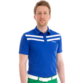 Funktion Golf Mens Short Sleeve Victory 3 Stripe E Blue/White Golf Shirt