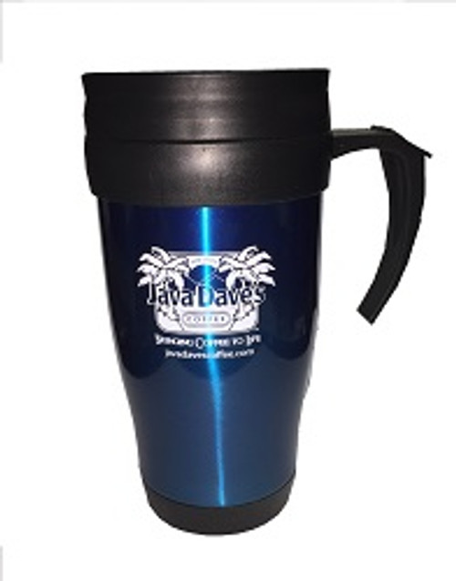 16oz Blue Java Dave's Travel Mug w/ handle