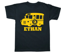 school bus personalized t shirt black shirt yellow print Fresh Frog Tees