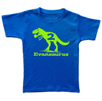 Trex dinosaur custom birthday tshirt printed on royal blue tshirt
