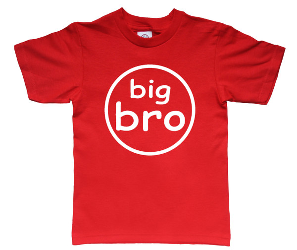 big bro circle tshirt on red shirt