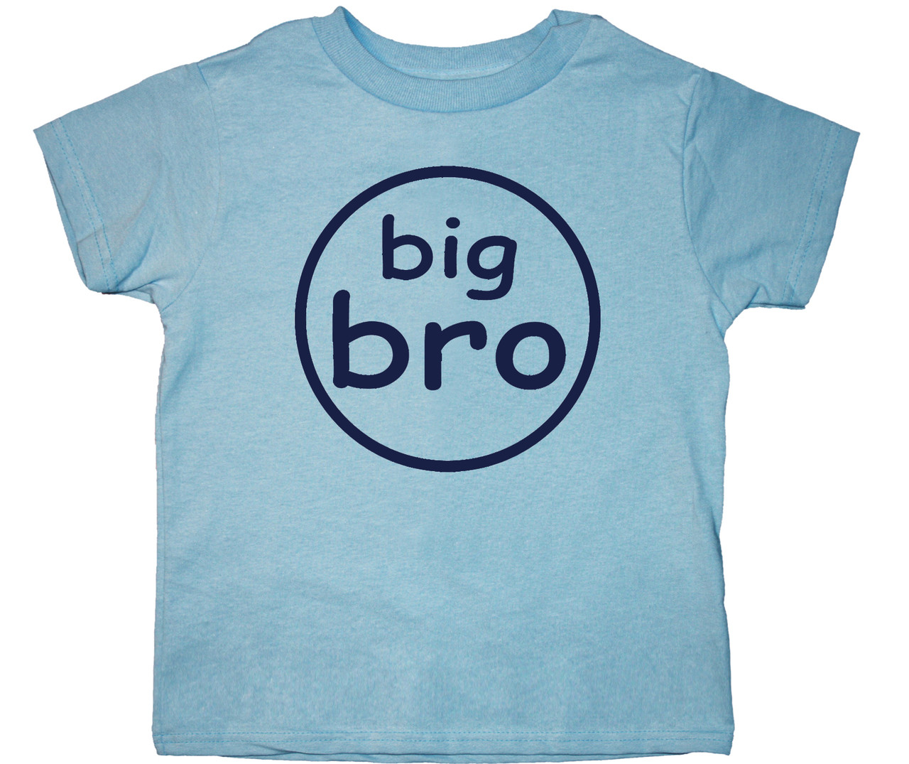 big bro circle tshirt on light blue shirt