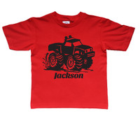 Monster truck shirt black print on red tshirt