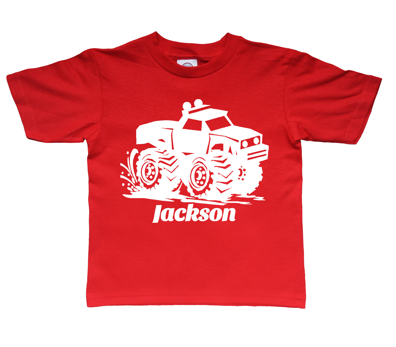 Mud monster truck white print on red tee