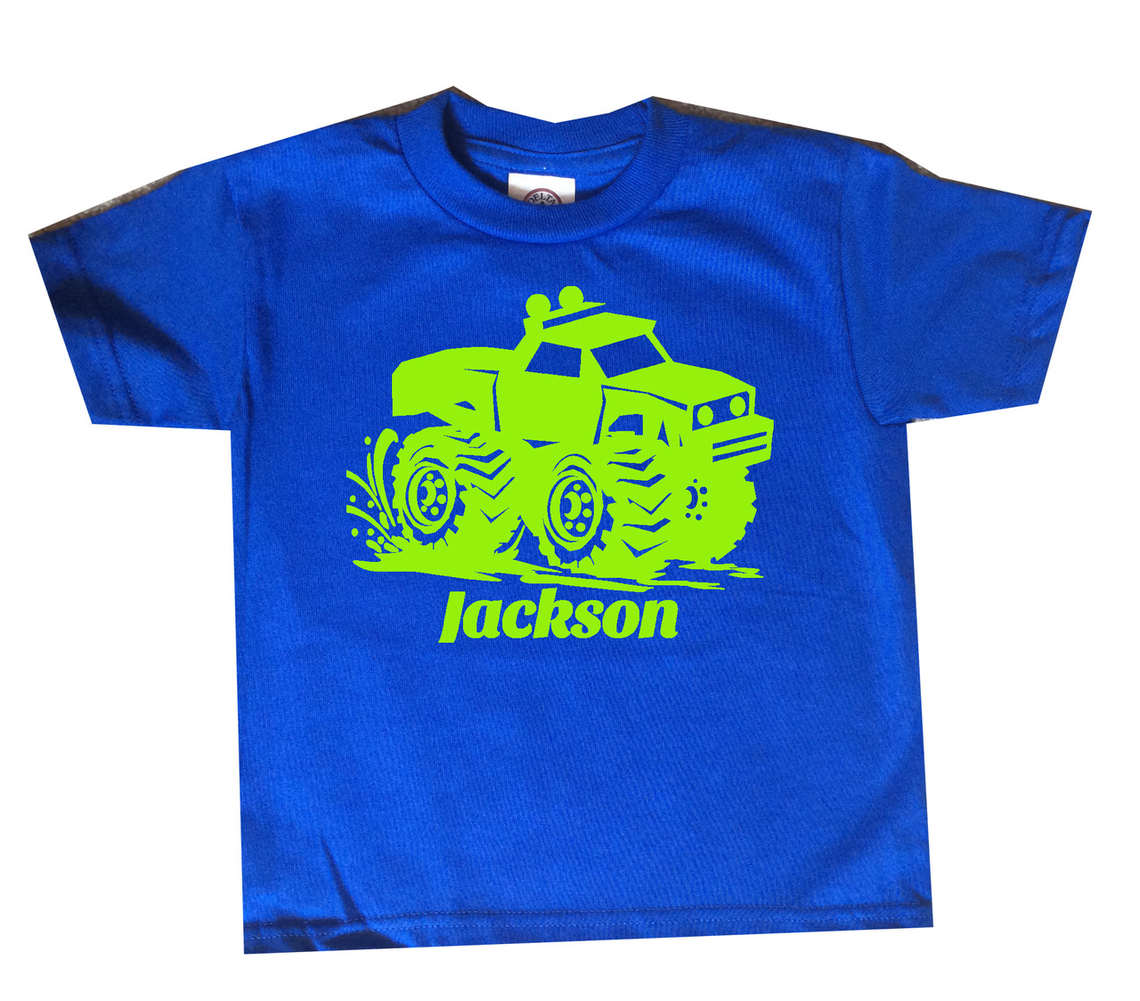 Monster truck tshirt lime print on royal blue shirt