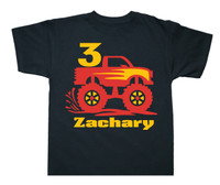 Personalized monster truck birthday shirt