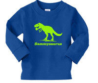 Tyrannosaurus rex long sleeve printed on royal blue shirt