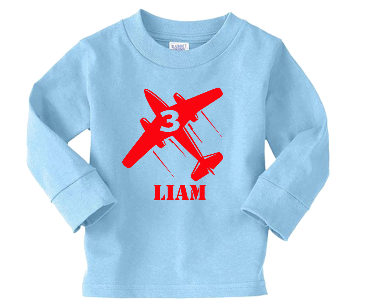 Airplane personalized long sleeve birthday on light blue tee