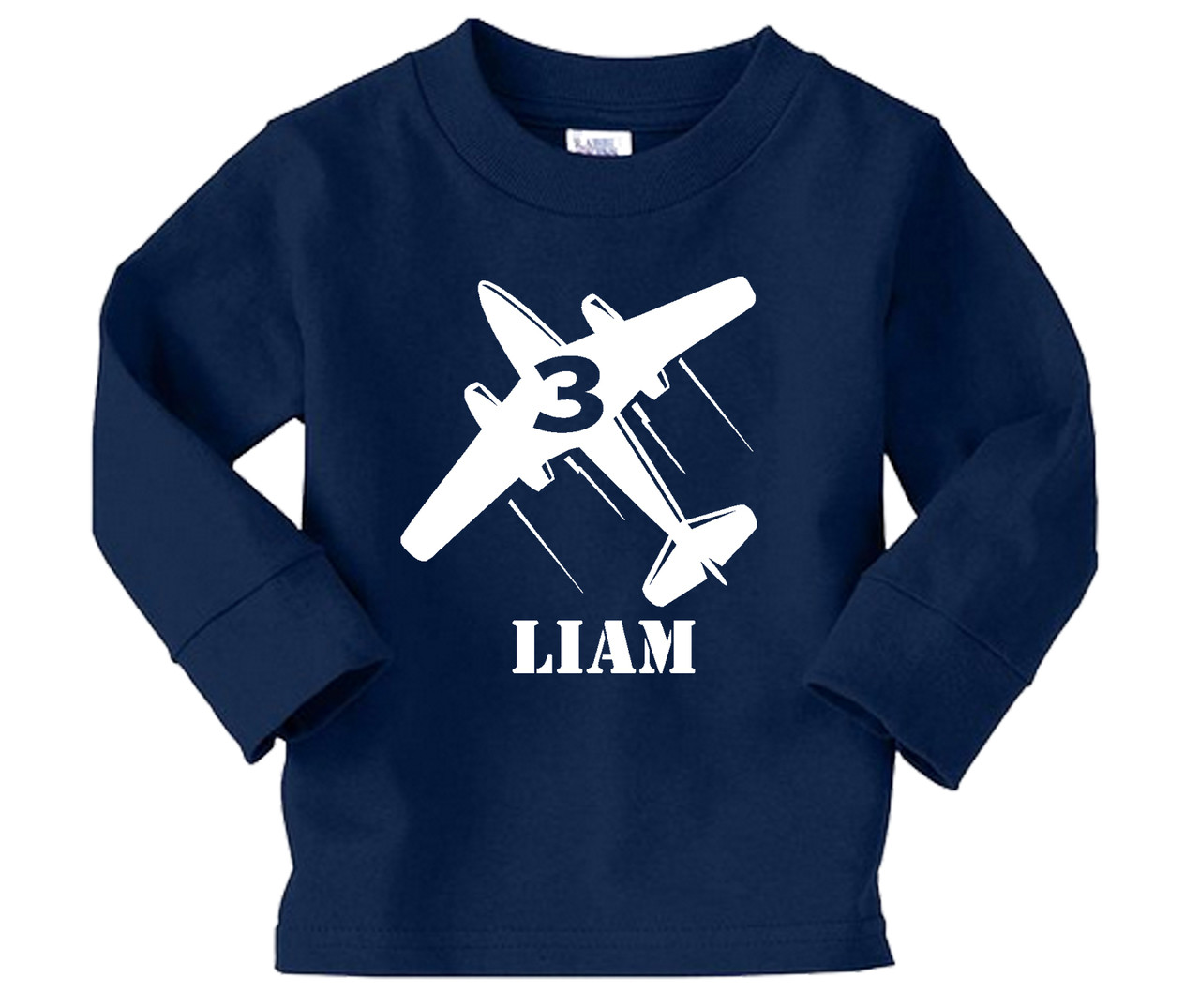 Airplane personalized long sleeve birthday on navy blue tee