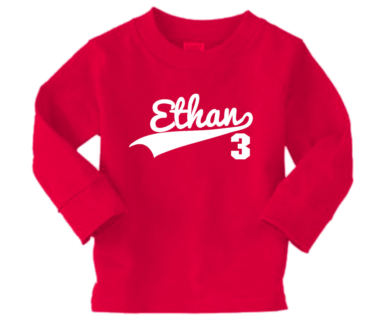 Long Sleeve personalized birthday swoosh tshirt printed on red.