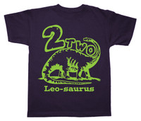 brontosaurus birthday tshirt neon green on navy shirt