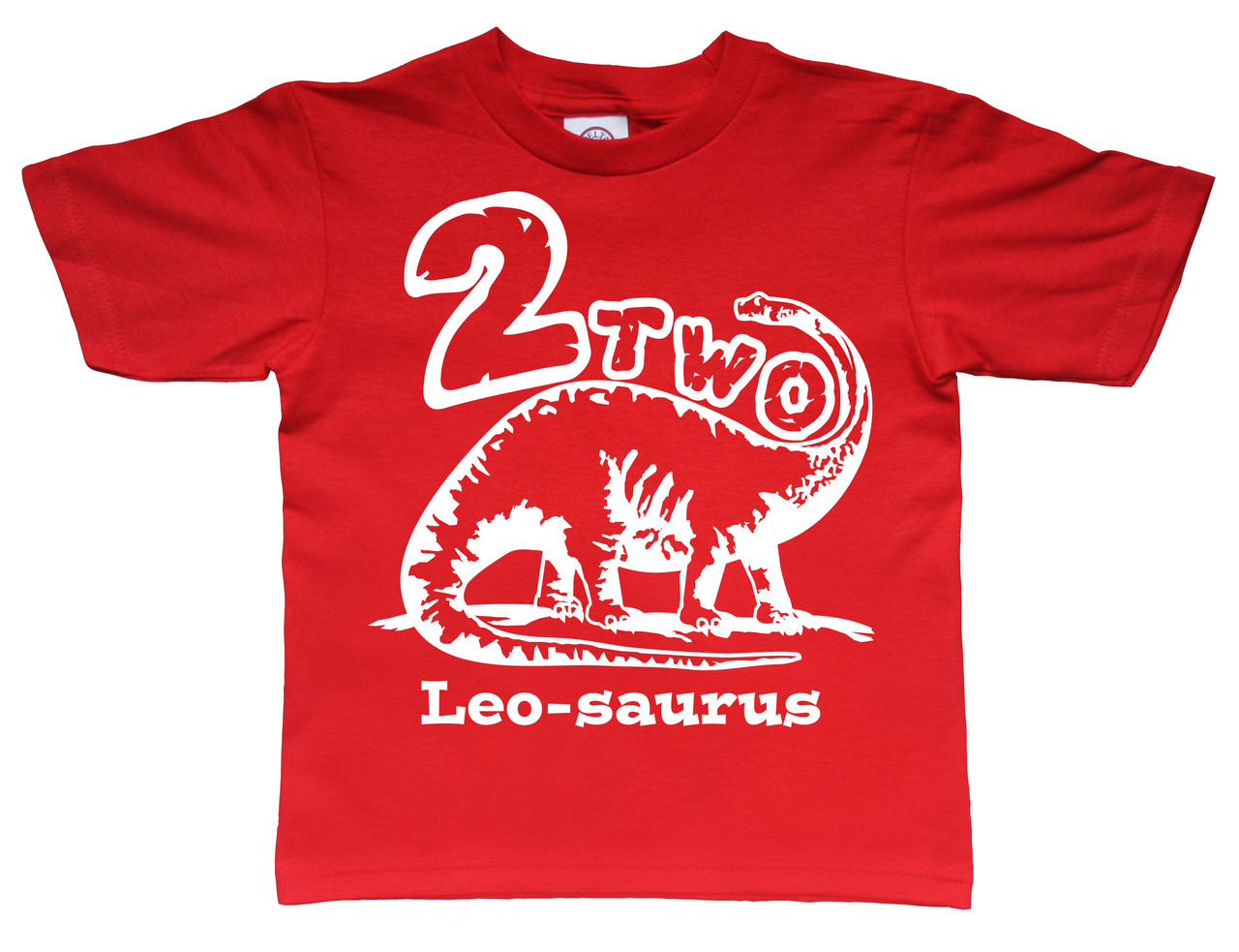 brontosaurus birthday t-shirt white printed on red tshirt