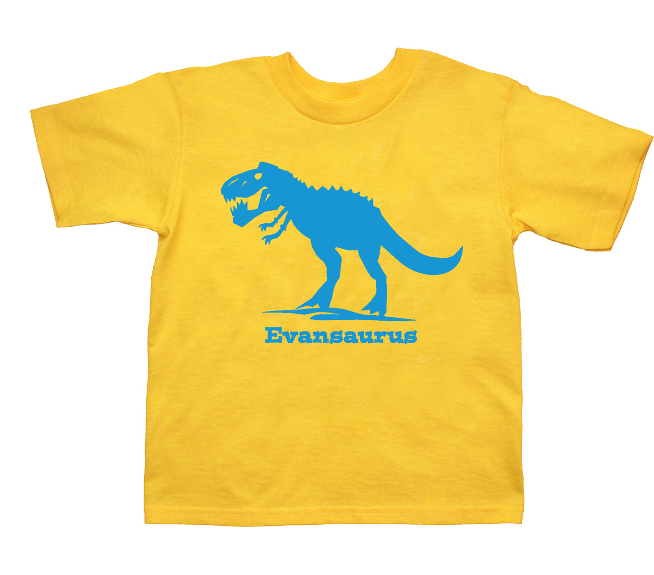 Trex dinosaur custom tshirt printed on yellow tshirt