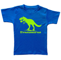 Trex dinosaur custom tshirt printed on royal blue tshirt