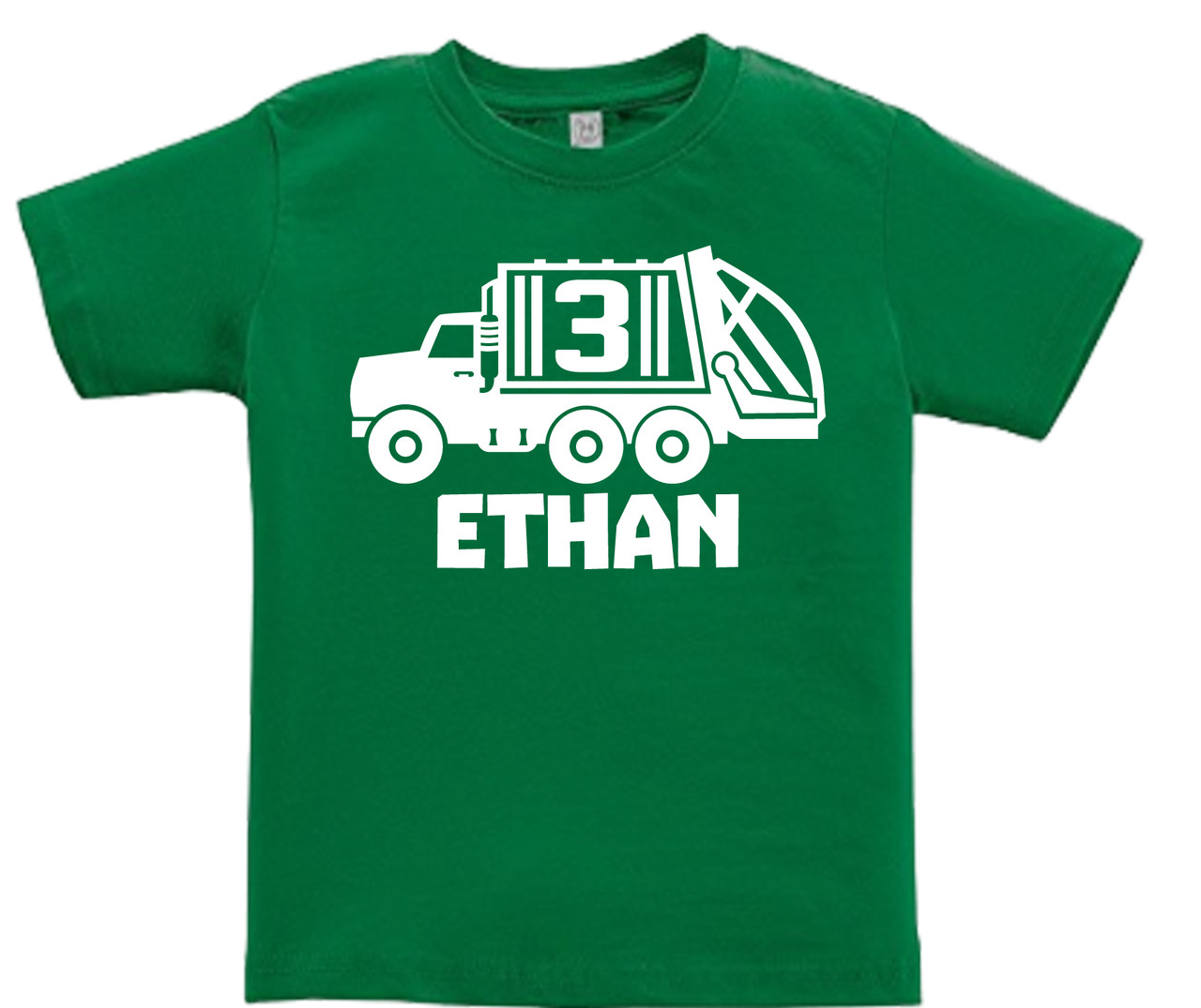 Custom Garbage recycling truck personalized birthday tshirt on green shirt | Fresh Frog Tees
