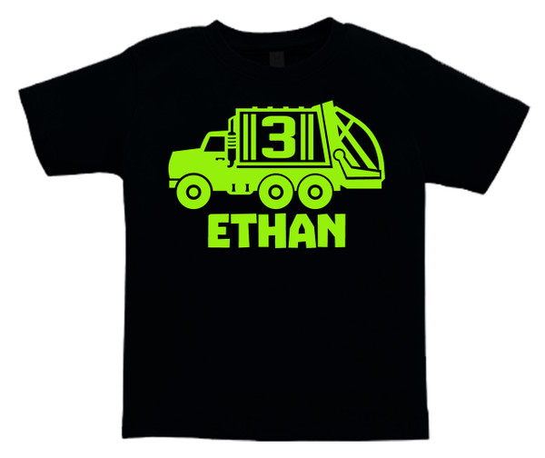 Custom Garbage recycling truck personalized birthday tshirt on black shirt | Fresh Frog Tees