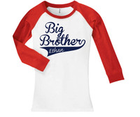 Slim fit baseball style swoosh big brother sibling shirt
