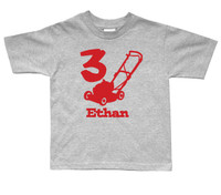 Personalized lawnmower birthday shirt