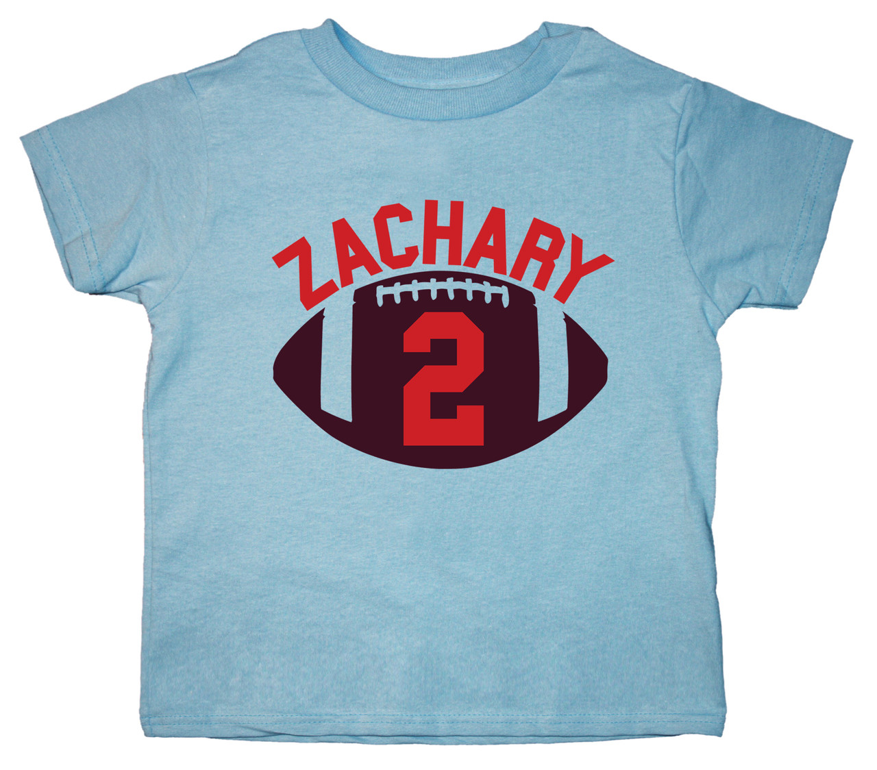 Football shirt on light blue tee