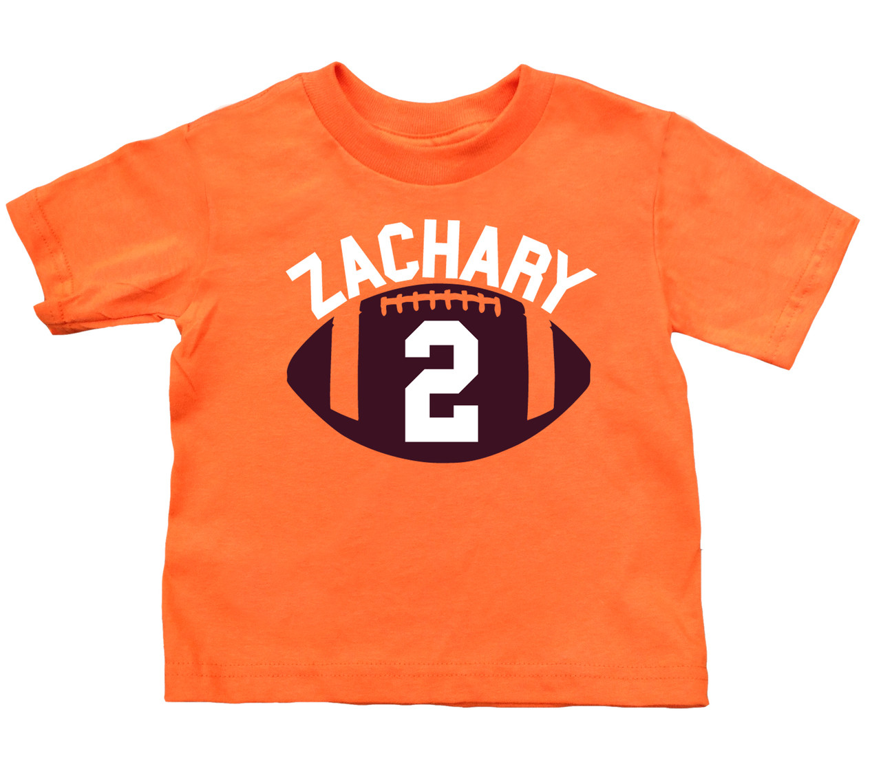 Football birthday tshirt on orange shirt