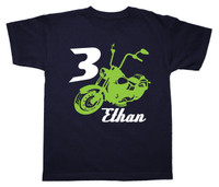 Motorcycle birthday tshirt personalized printed on navy short sleeve