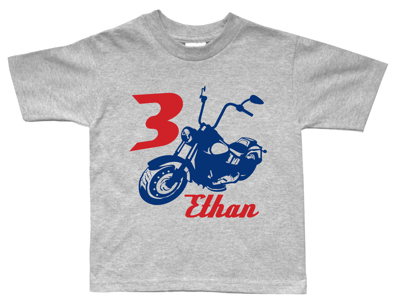 Chopper motocycle birthday shirt on grey short sleeve