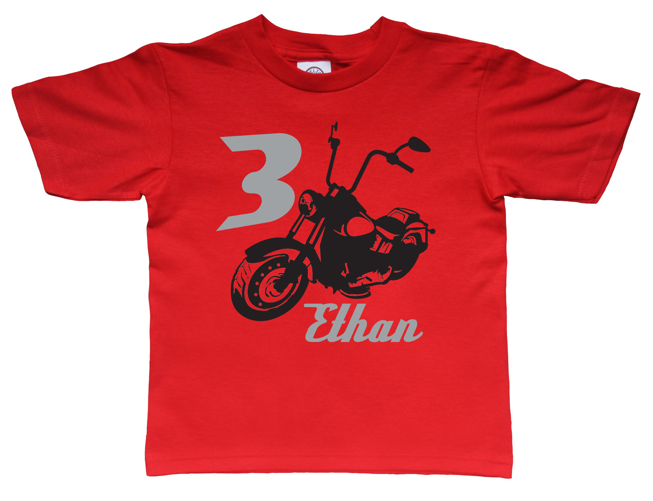 Motocycle tee shirt printed on red tshirt