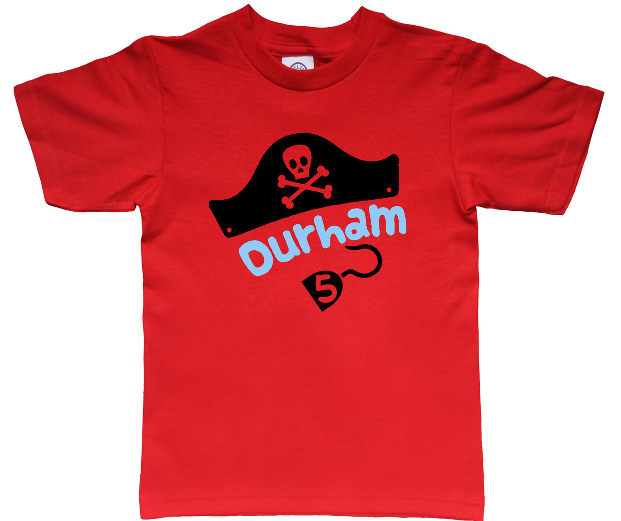 Pirate hat personalized tshirt with age on red shirt