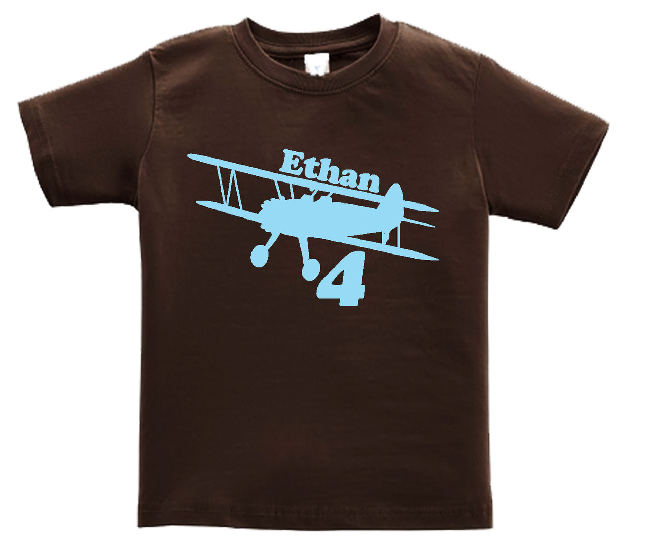 airplane biplane tshirt lightblue on brown shirt