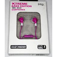 iHip Mr Bud Extreme Bass Edition Pink Earphones With In-Line Mic - EE684698