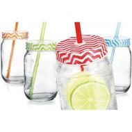 Home Essentials Chevron 16OZ Mason Jars W/straw Set Of 4 - EE698489
