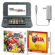 Black Nintendo 3DS XL Bundle Nintendo AC Adapter And Two Full Games - ZZ710688