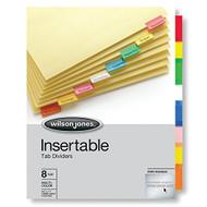 Wilson Jones Tab Dividers Insertable Multicolor Tabs 8-TABS 1 Set W543 - DD630995