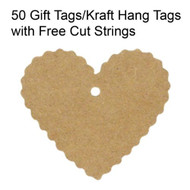 Wrapables 50 Gift Tags/Kraft Hang Tags With Free Cut Strings For Gifts - EE526623