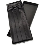 Cummerbund Bow Tie And Pocket Square Set With Box Black - EE549214