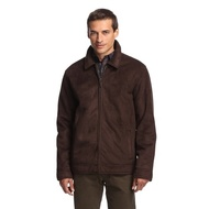 Perry Ellis Portfolio Jacket Dark Brown Faux Shearling Suede Coat S - EE536569