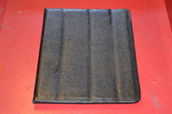 Magnetic Rollback iPad Cover Pebbled Faux Leather Black Gray Interior - EE472605