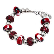 Stainless Steel Murano Bracelet With Charms Red SBK2554 Adjustable - EE468655