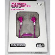 iHip Xtreme Bass Edition Mr Bud Earphones Pink Headphones - EE560267