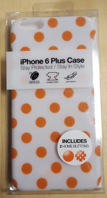 Gems iPhone 6 Plus Case White With Orange Polka Dots Cover Multi-Color - EE565135