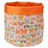 Reversible Canvas Bin Orange/ Multi-Colored Butterfly Print - DD645646