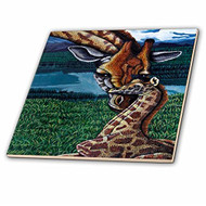 3DROSE Ct 3235 4 Giraffe Mother Ceramic Tile 12-Inch - DD651669